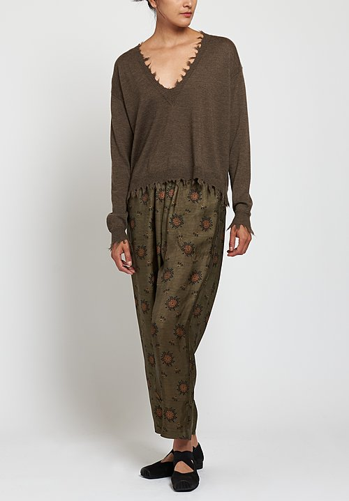 Uma Wang Moulay Pala Pants in Green/ Brown
