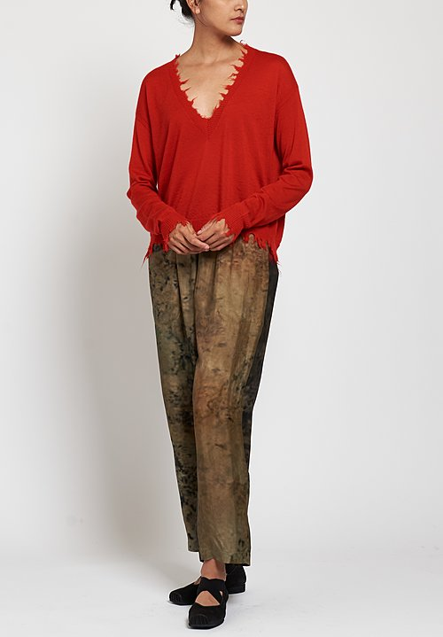 Uma Wang Moulay Pala Pants in Dk Mustard/ Red
