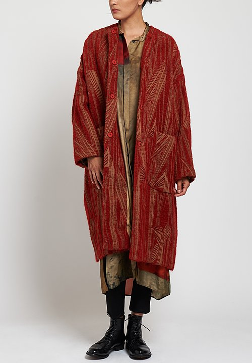 Uma Wang Camanti Cadrian Coat in Tan/ Red