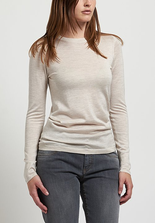 Brunello Cucinelli Lightweight Crew Neck Sweater in Cool Beige