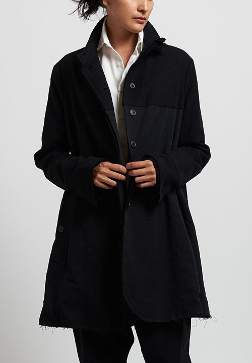 Rundholz Raw Hem Coat in Black