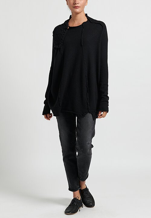 Rundholz Chunky Stitch Accent Tunic Sweater in Black
