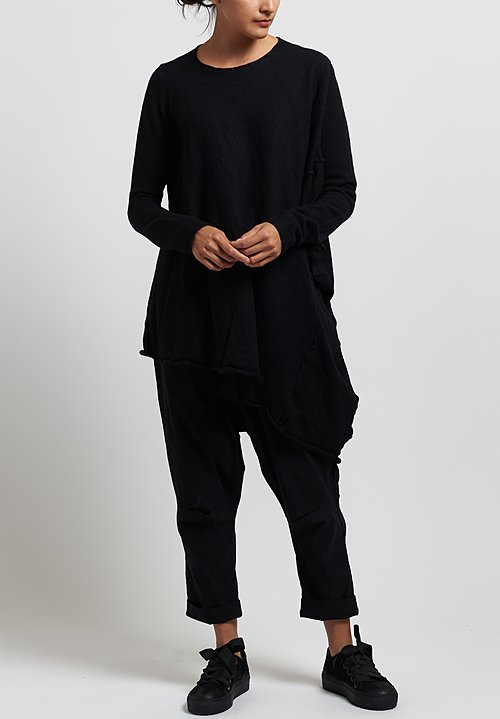Rundholz Merino Long Asymmetric Sweater in Black