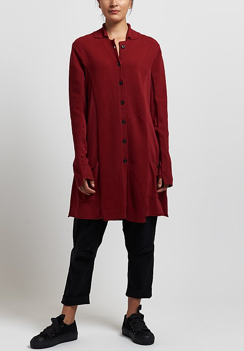 Rundholz Dip Long Knit Jacket in Karmin