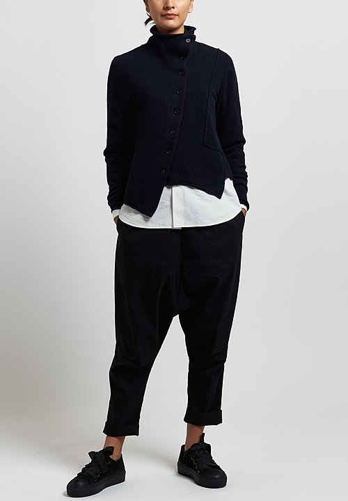 Rundholz Black Label Asymmetric Cardigan in Dark Blue