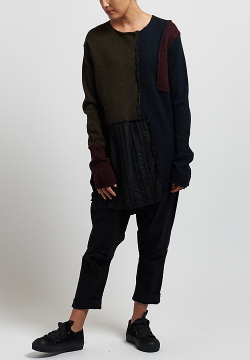 Rundholz Black Label Long Patchwork Sweater in Black/ Olive