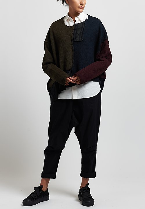 Rundholz Black Label Patchwork Sweater in Black/ Olive