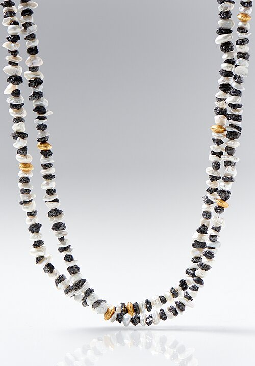 Greig Porter Long 18K Gold, Corundum and Pearl Necklace