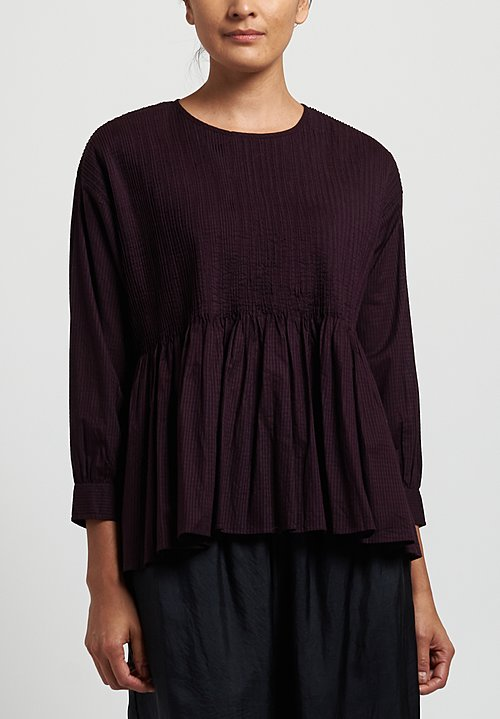 Maison de Soil Cotton Striped Pintuck Top in Bordeaux