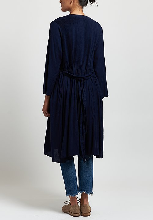 Maison de Soil Cotton Twill Pintuck Wrap Dress in Dark Indigo