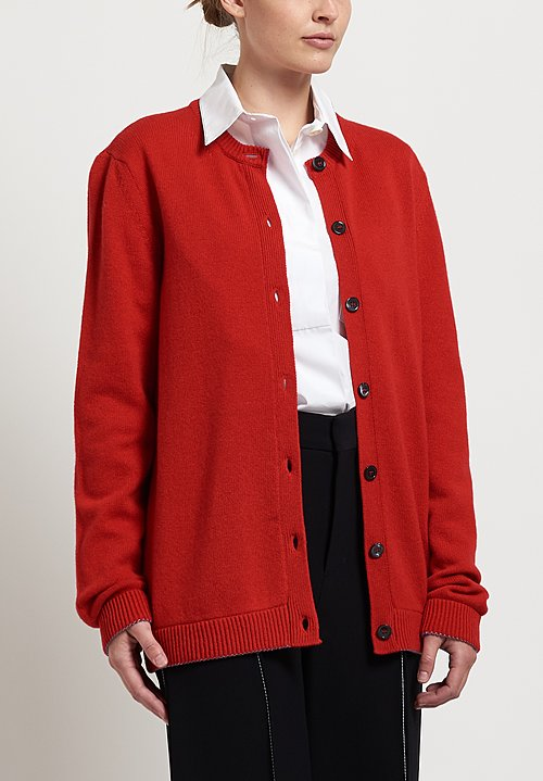 Marni Lux Knit Cardigan in Orange Red