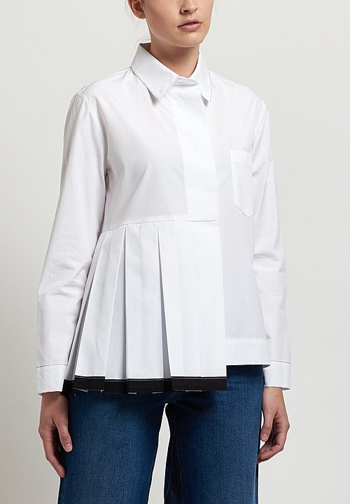 Marni Poplin Pleated Shirt in Lily White
