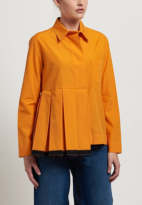 Marni Poplin Pleated Shirt in Light Orange