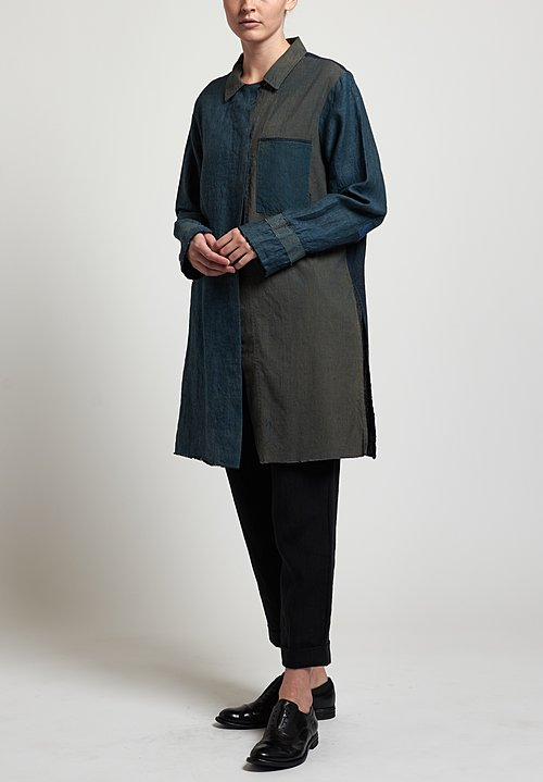 Salvaged Handmade Long Shirt in Blue Grey