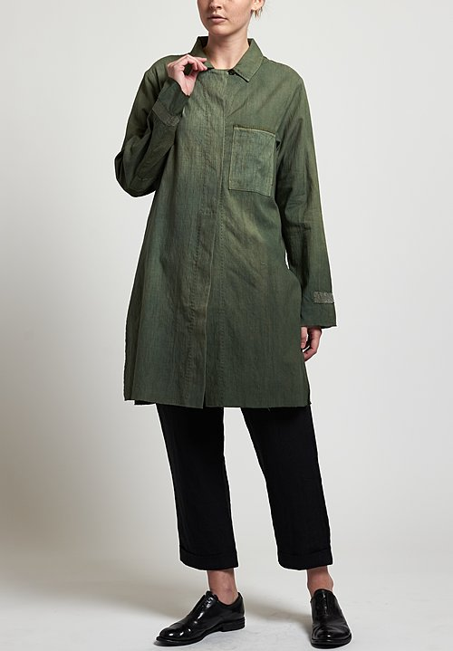 Salvaged Handmade Long Shirt in Military