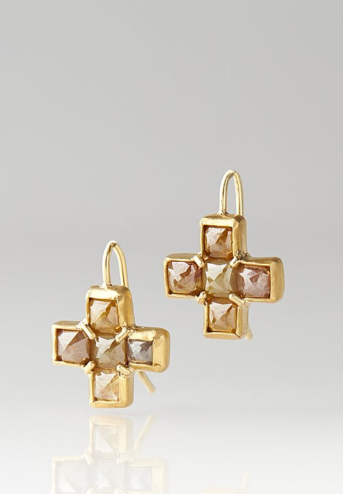 Karen Melfi 22K, Rose Cut Diamond Cross Earrings