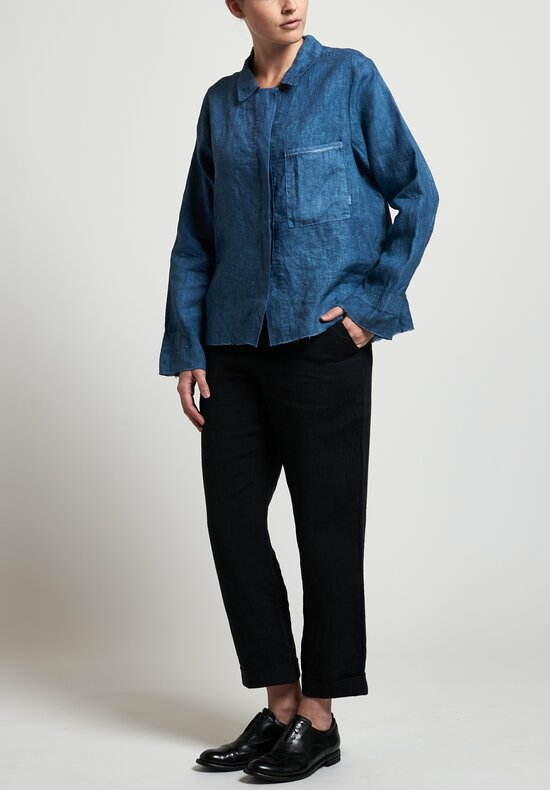 Salvaged Handmade Short Shirt in Blue