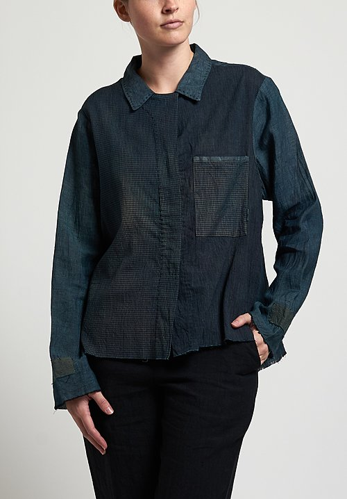 Salvaged Linen Handmade Short Shirt in Blue Green