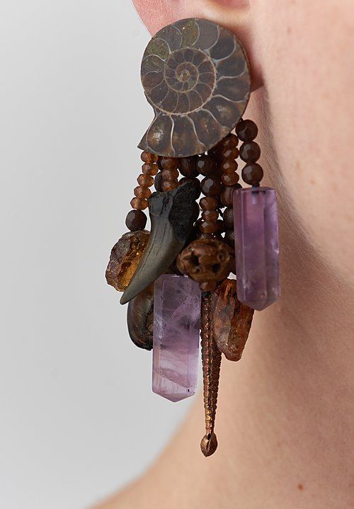 Monies UNIQUE Ammonite, Amethyst, Copper, Aventurine, Mother of Pearl, Citrine Earrings