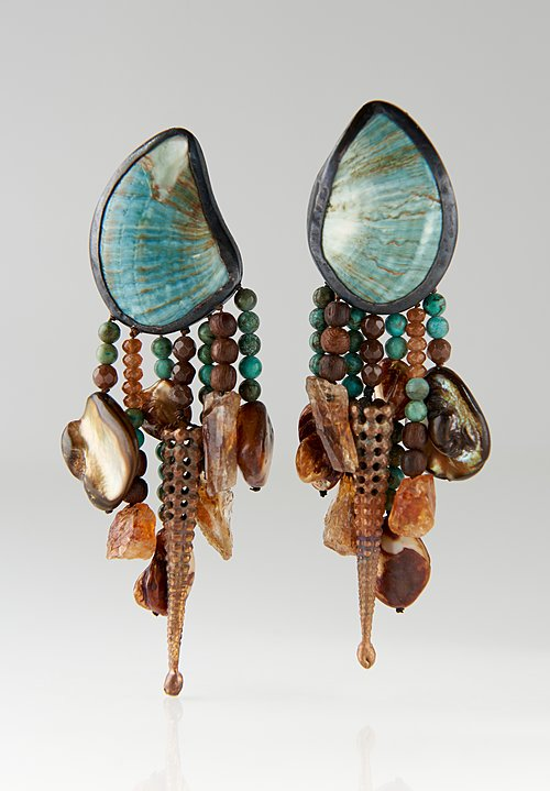 Monies UNIQUE Shell, Turquoise, Mother of Pearl, and Citrine Earrings