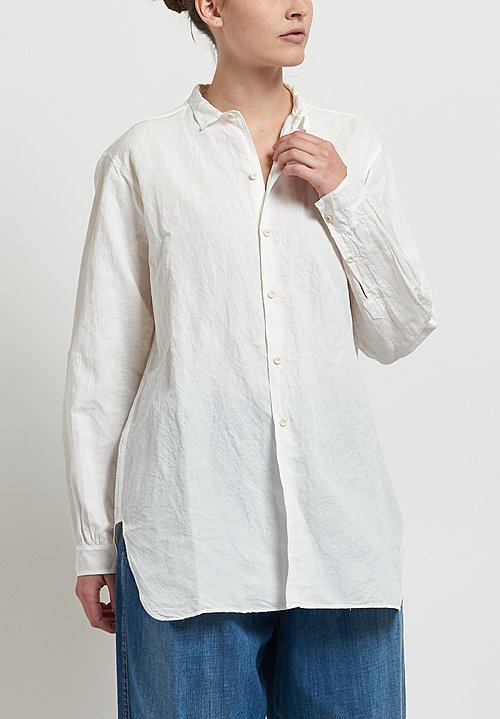 Kaval Cotton/ Linen Fine Twill Simple Stitch Shirt in Off White