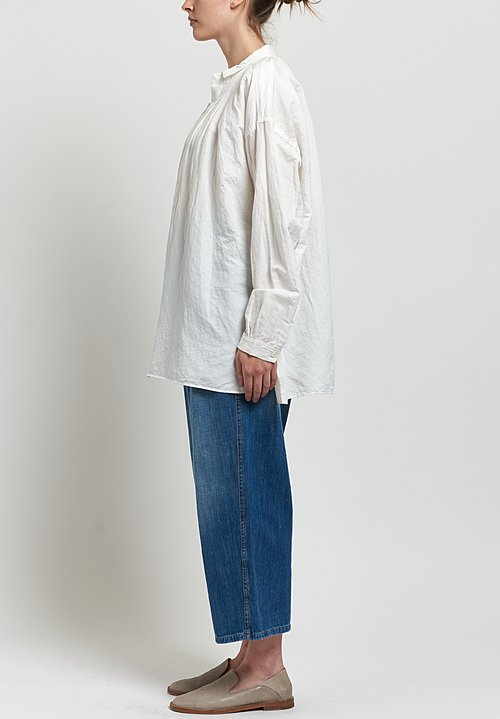 Kaval Fine Twill Gather Blouse in Off White
