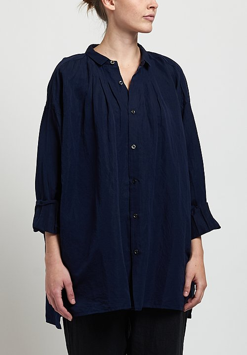 Kaval Fine Twill Gather Blouse in Dark Navy