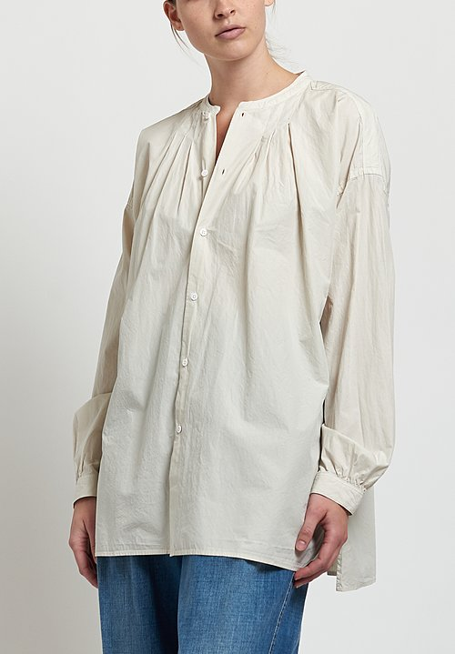 Kaval High Count Typewriter Band Collar Shirt in Cream