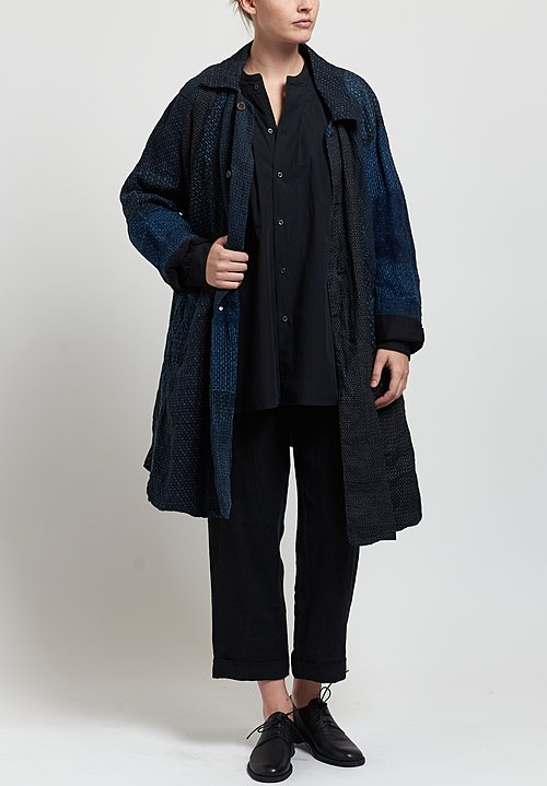 Kaval High Count Typewriter Band Collar Shirt in Dark Navy