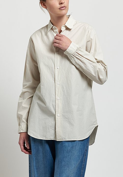Kaval High Count Typewriter Basic Shirt in Cream