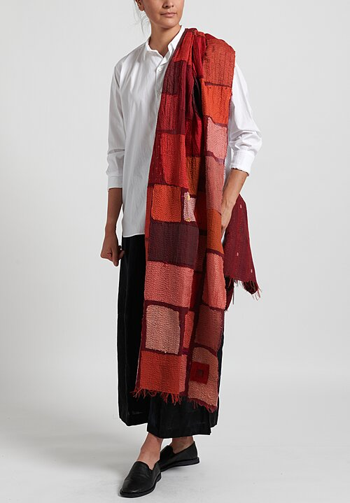 Mieko Mintz Cotton/ Silk 2-Layer Tonal Tile Patch Shawl in Red