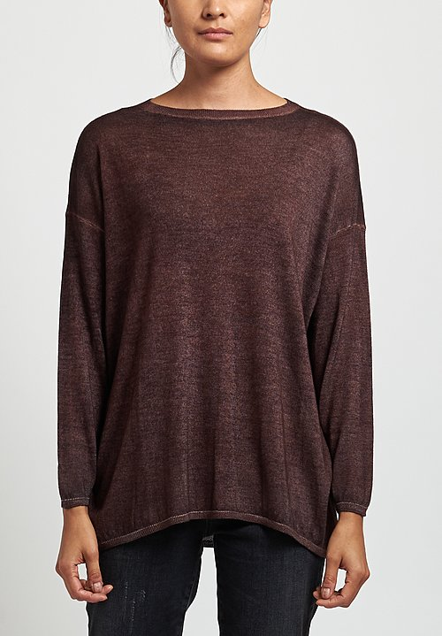 Avant Toi Lightweight Barchetta Sweater in Chocolate