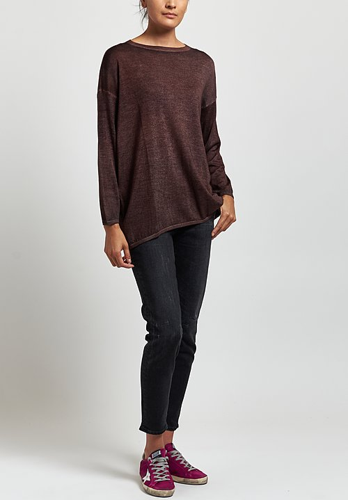 Avant Toi Lightweight Barchetta Sweater in Nero/Terre