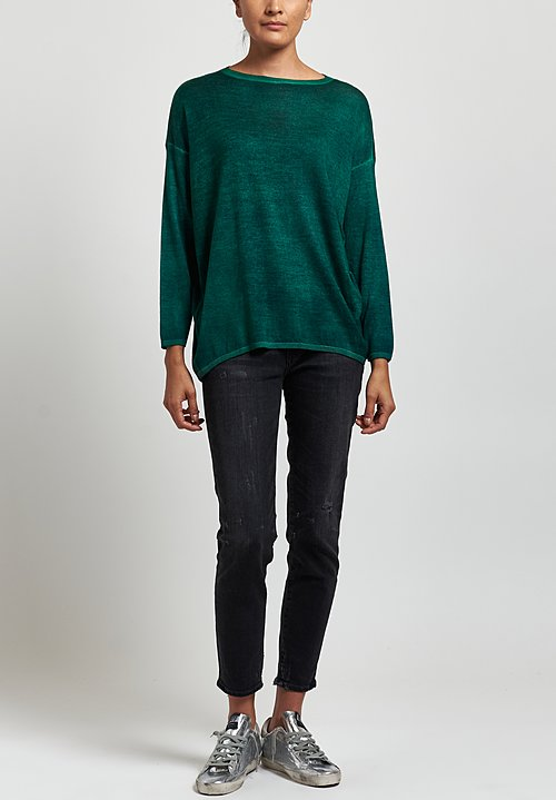Avant Toi Cashmere/ Silk Lightweight Barchetta Sweater in Nero/ Smeraldo