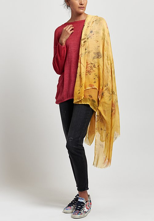 Avant Toi Floral Print Scarf in Gold