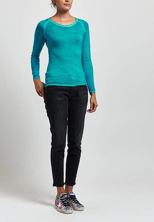 Avant Toi Cashmere/ Silk Raglan Sleeve Fitted Sweater in Turchese