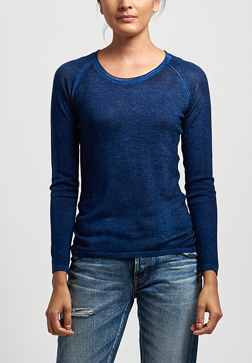Avant Toi Cashmere/ Silk Raglan Sleeve Sweater in Nero/ Denim