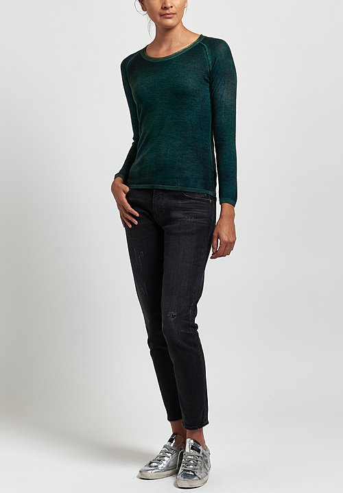 Avant Toi Cashmere/ Silk Raglan Sleeve Fitted Sweater in Nero/ Smeraldo