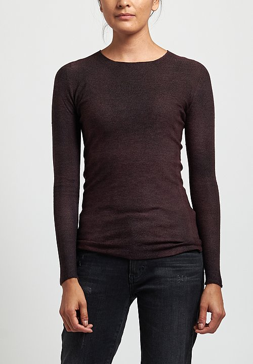 Avant Toi Cashmere/ Silk Fitted Crew Neck Sweater in Nero/ Terre