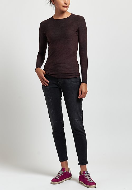 Avant Toi Cashmere/ Silk Fitted Crew Neck Sweater in Dark Brown