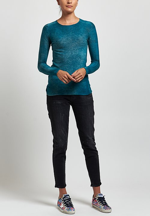 Avant Toi Cashmere/ Silk Fitted Crew Neck Sweater in Provence
