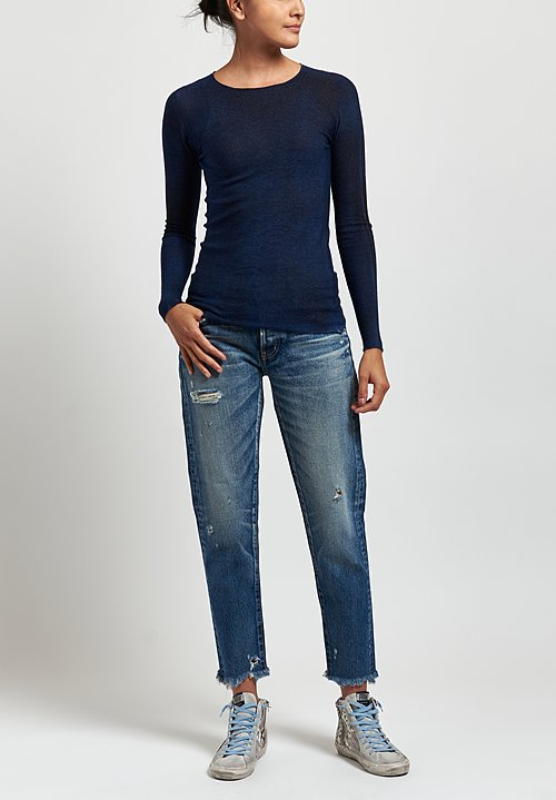 Avant Toi Cashmere/ Silk Fitted Crew Neck Sweater in Nero/ Denim