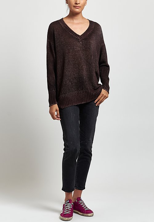 Avant Toi Oversized Linen V-Neck Sweater in Nero/Terre