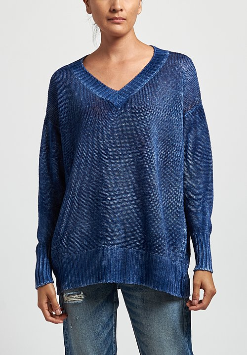 Avant Toi Oversized Linen V-Neck Sweater in Denim