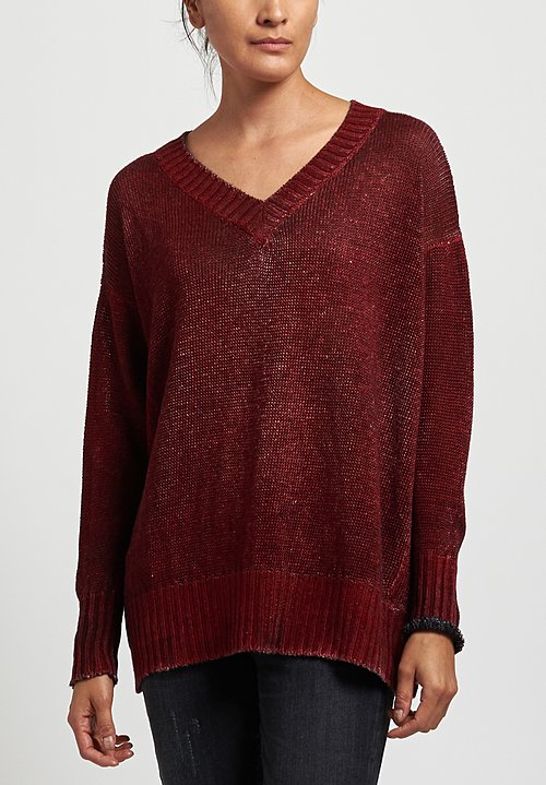 Avant Toi Oversized Linen V-Neck Sweater in Nero/Smalto
