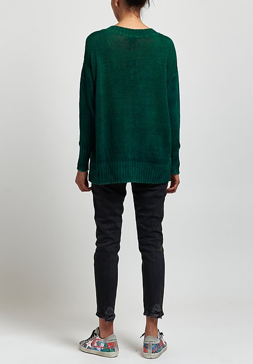 Avant Toi Oversized Linen V-Neck Sweater in Nero/ Smeraldo