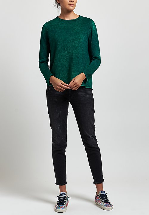 Avant Toi Linen Barchetta Sweater in Nero/Smeraldo