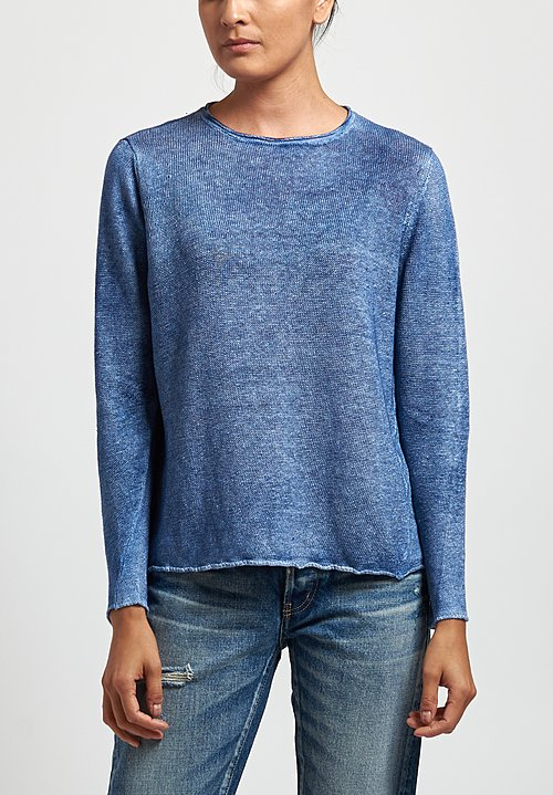 Avant Toi Linen Barchetta Sweater in Denim
