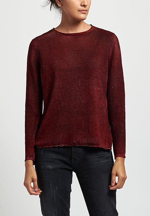 Avant Toi Linen Barchetta Sweater in Mahogany