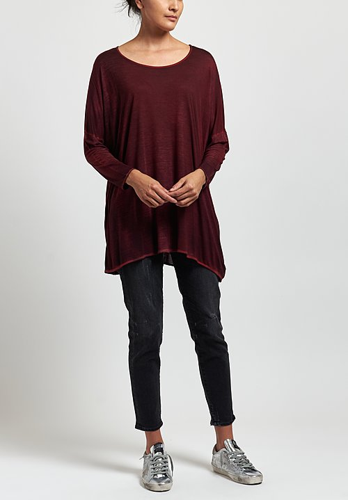 Avant Toi Round Neck Top in Nero/Smalto